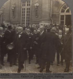 Georges Clemenceau, Woodrow Wilson, Lloyd George leaving Palace of Versailles - Diana Mandache collection