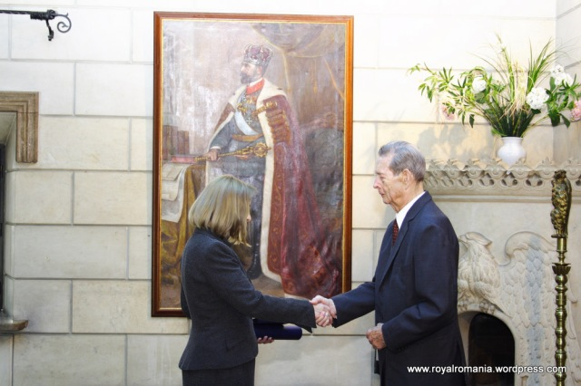 Diana Mandache, HM King Michael of Romania, Elisabeta Palace, Bucharest, 31 May 2010.