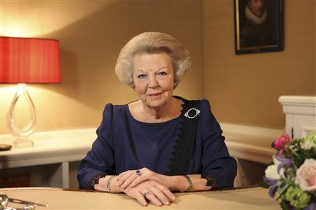 Queen Beatrix, who turns 75 on Thursday, announces her abdication in favour of her son, Prince Willem-Alexander, in a hastily announced broadcast on Dutch National Television to the nation at her home palace in The Hague in this handout picture dated January 28, 2013.